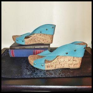 Montego Bay Teal Elastic Wedge Sandals